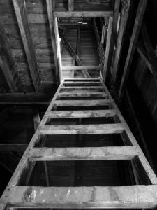 Old ladder in barn leading to hay loft McMinnville